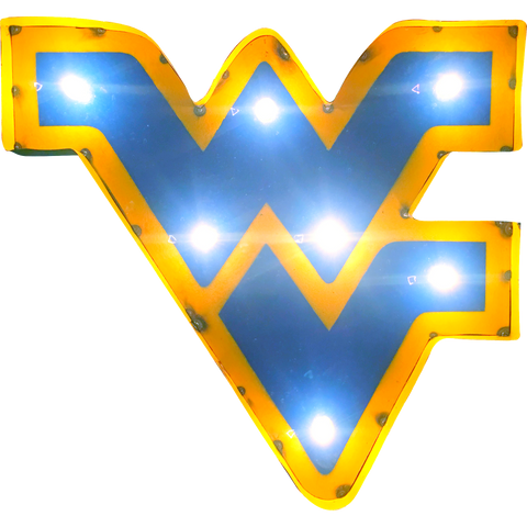"West Virginia University ""WV"" Lighted Recycled Metal Wall Decor"