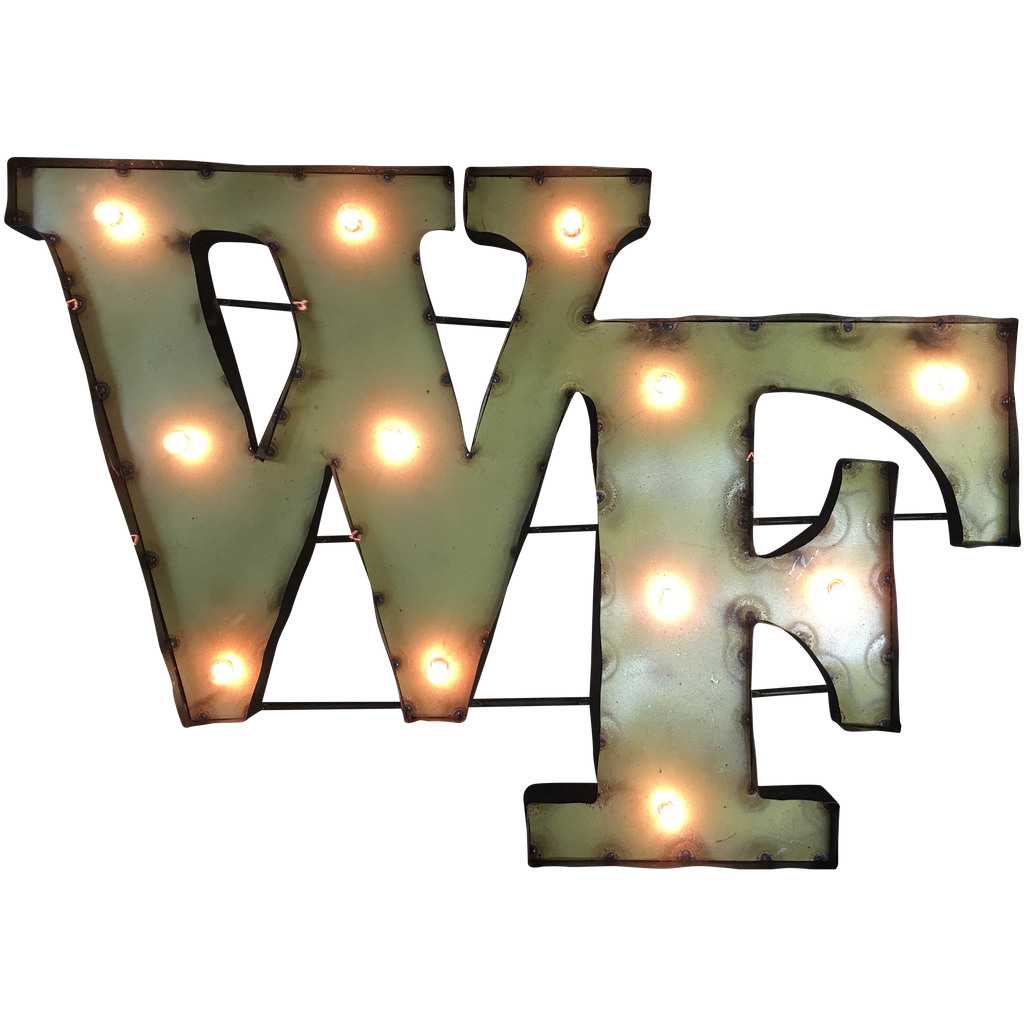 "Wake Forest ""WF"" Lighted Recycled Metal Wall Decor"
