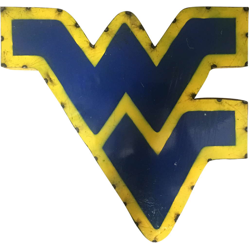 "West Virginia ""WV"" Logo Recycled Metal Wall Decor"