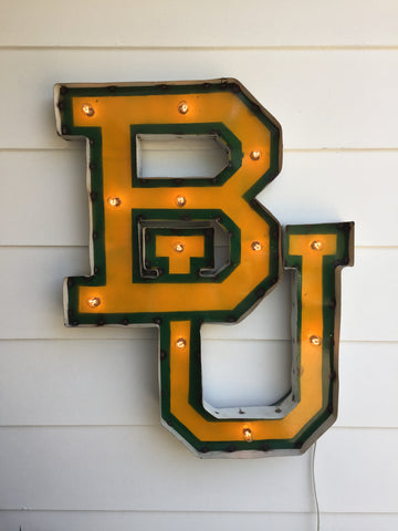 "Baylor University ""BU"" Lighted Recycled Metal Wall Decor"