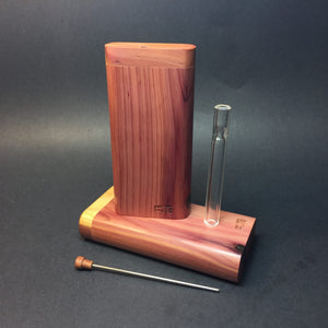 FutoStash X - Aromatic Cedar - Glass One Hitter - Stash Tool - One Hitter Box - Dugout - Made in Canada