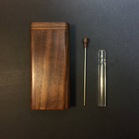 FutoStash X - Walnut - Glass One Hitter - Stash Tool - One Hitter Box - Dugout - Made in Canada