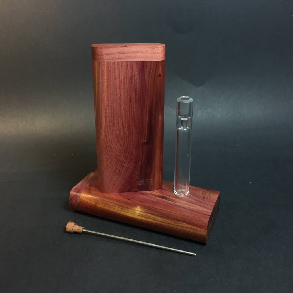 FutoStash G - Aromatic Cedar - Glass One Hitter - Stash Tool - One Hitter Box - Dugout - Made in Canada