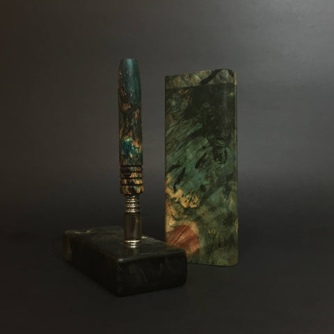 Fade to Green Set - Stabilized Burl & Resin - DynaVap Stem, Stash, & Stand