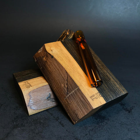 Futo GX - Live Edge Bocote Dugouts - 12MM Glass One Hitter Boxes - Made from Special Live Edge Exotic Wood - Made in Canada