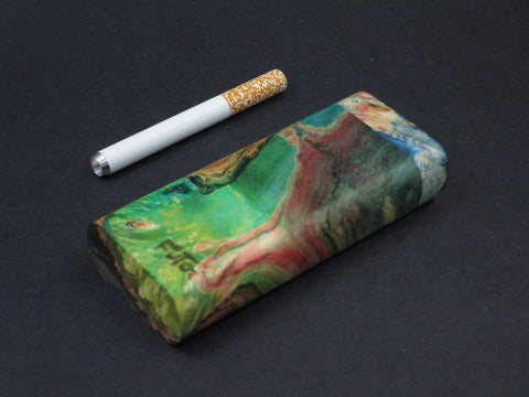 Galaxy Burl Dugout #51 - Futo Model M - Green - Stabilized Burl - One Hitter Box - Numbered Set - Made in Canada