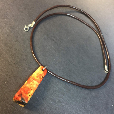 Boxelder Burl Wood Necklace - Pendant Necklace - Genuine Leather & Burl Wood - Wood Jewelry