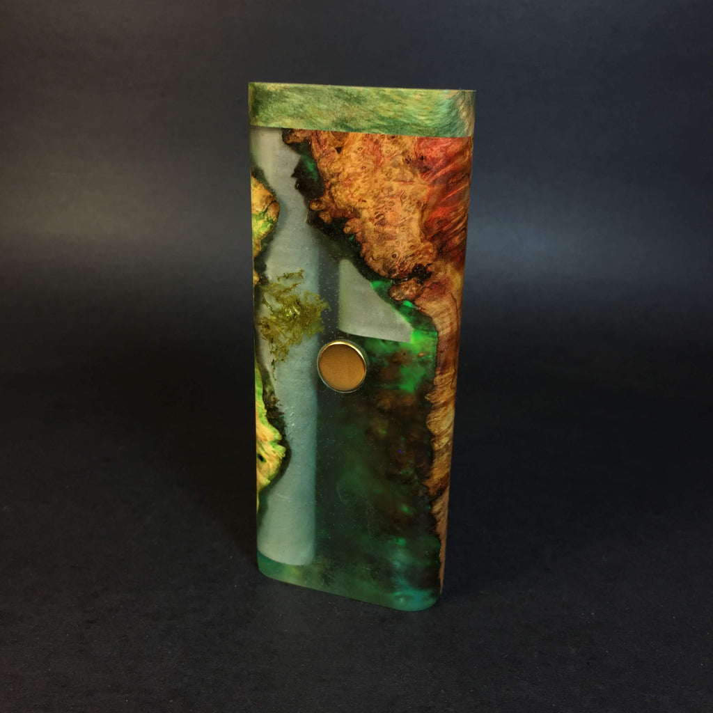 Galaxy Burl XL FutoStash #1156 - Gold Magnet - Glow in the Dark - Stabilized Boxelder Burl - DynaVap Stash