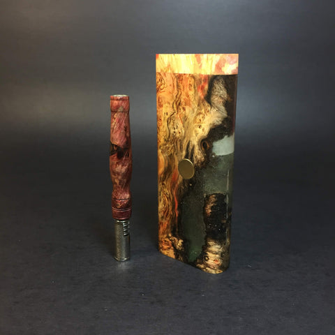Galaxy Burl XL FutoStash #1169 - Gold Magnet - Stabilized Boxelder Burl - DynaVap Stash