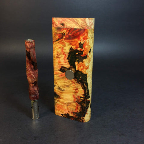 Galaxy Burl XL FutoStash #1183 - Black Magnet - Stabilized Boxelder Burl - DynaVap Stash
