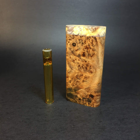 Galaxy Burl Dugout #384 - Futo Model GX -Stabilized Boxelder Burl  - Glass One Hitter Box