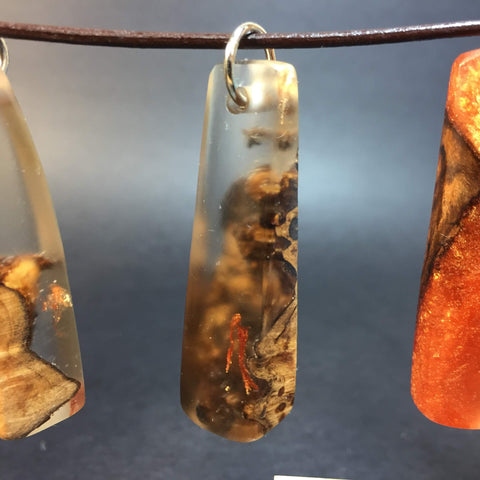 Maple Burl and Resin Necklace - Pendant Necklace - Genuine Leather & Resin Cast Burl Wood - Resin and Wood Jewelry