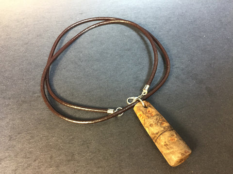 Big Leaf Maple Burl Wood Necklace - Pendant Necklace - Genuine Leather & Burl Wood - Wood Jewelry