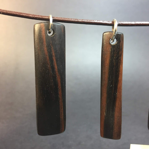 Macassar Ebony Wood Necklace - Pendant Necklace - Genuine Leather & Exotic Wood - Wood Jewelry