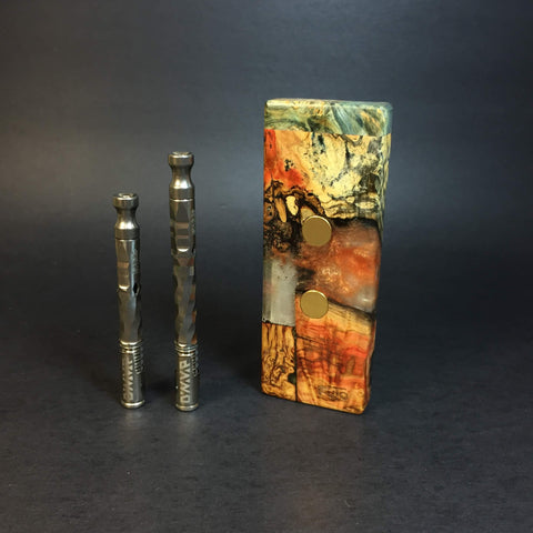 "Galaxy Burl SXL G2 FutoStash #1234 - ""Geo Segments"" - Gold Magnets - Stabilized Boxelder Burl - DynaVap Stash"