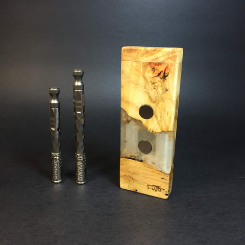 River Resin SXL G2 FutoStash #1237 - Stabilized Boxelder Burl - DynaVap Stash