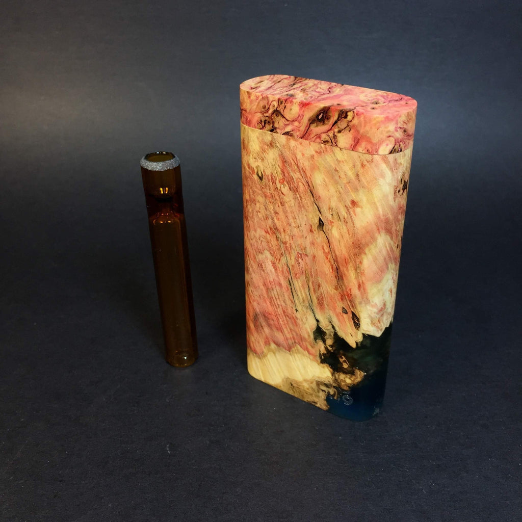 Galaxy Burl Dugout #378 - Futo Model GX -Stabilized Boxelder Burl  - Glass One Hitter Box