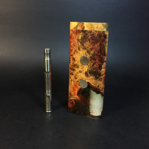 Galaxy Burl XL G2 FutoStash #1143  - Glow in the Dark - Holds 2 Vaporizers - Stabilized Boxelder Burl - DynaVap Stash