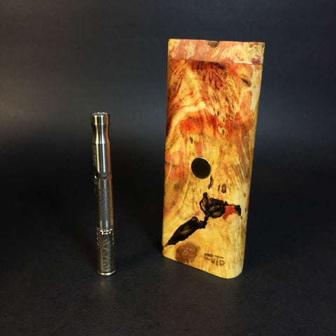 "Galaxy Burl ""Inferno"" XL FutoStash #1160 - Gold Magnet - Stabilized Boxelder Burl - DynaVap Stash"
