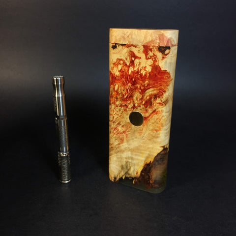 "Galaxy Burl ""Fireball"" XL FutoStash #1164 - Gold Magnet - Stabilized Boxelder Burl - DynaVap Stash"