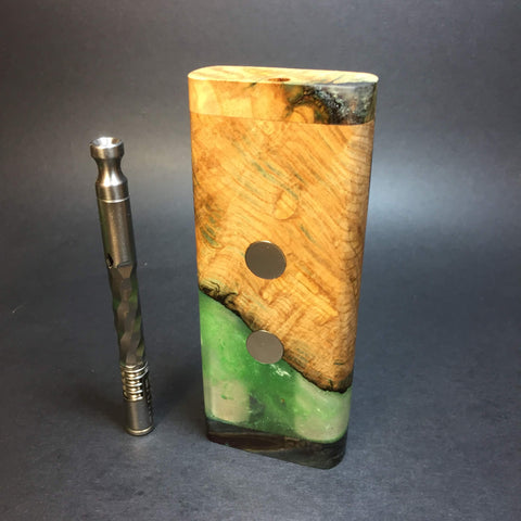Galaxy Burl XL G2 FutoStash #1286 - Glow in the Dark -  Stabilized Boxelder Burl - DynaVap Stash