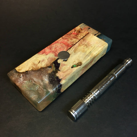 Galaxy Burl FutoStash S #1320 - Stabilized Burl & Resin - DynaVap Stash