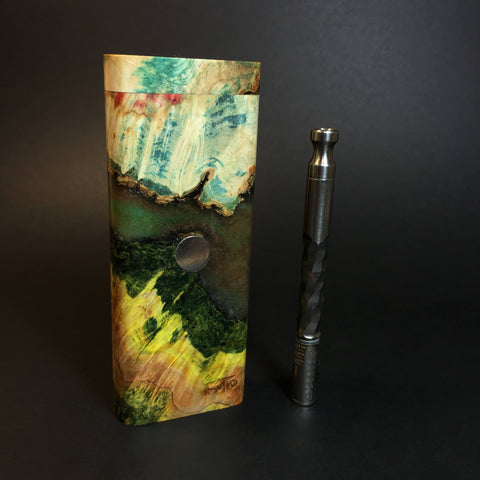 Galaxy Burl XL FutoStash #1308 - Stabilized Burl & Resin - DynaVap Stash