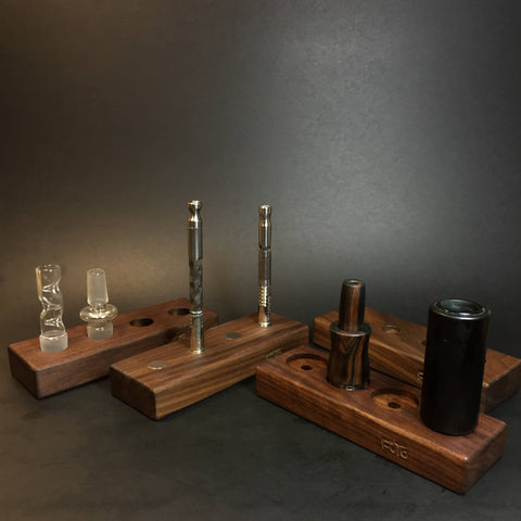 Futo Bowl Stand - Walnut - Holds x4 18/19mm Glass Bowls - Desktop Bowl Display Stand
