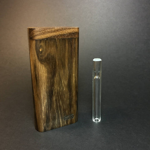 FutoStash X - Ziricote - Medium Glass One Hitter - 9mm - Wood Handle Stash Tool - One Hitter Box - Dugout - Made in Canada