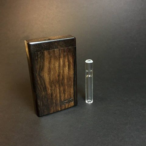 Futo Micro Sprouts - Ziricote - Shortie Glass One Hitter - 8mm - Wood Handle Stash Tool - One Hitter Box - Dugout - Made in Canada