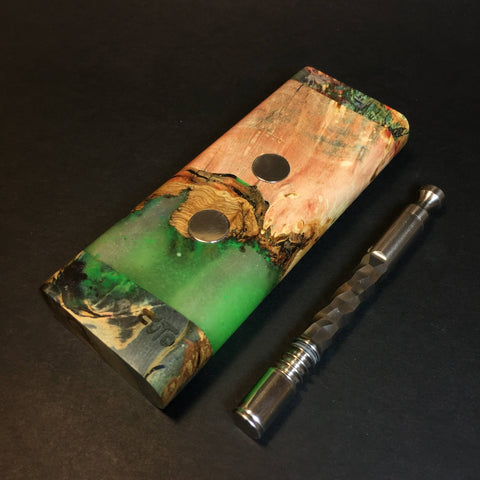 Galaxy Burl XL G2 FutoStash #1346 - GLOW - Stabilized Burl & Resin - DynaVap Stash