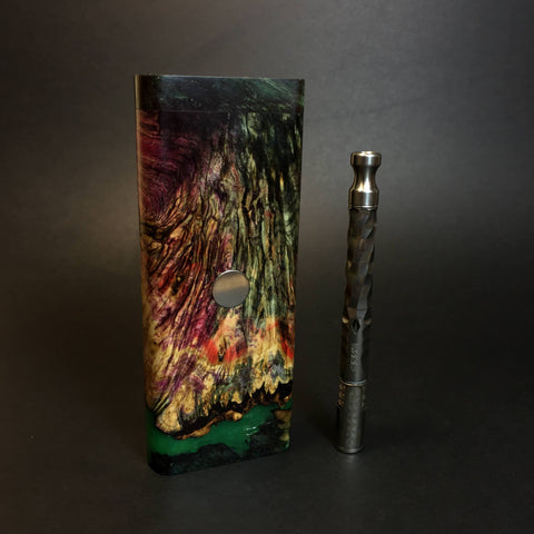 Galaxy Burl FutoStash XL #1409 - Glow in the Dark - Stabilized Boxelder Burl - DynaVap Stash