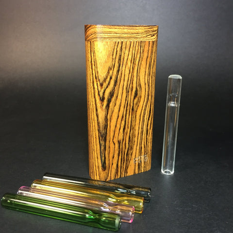 FutoStash X - Bocote - Medium Glass One Hitter - 9mm - Wood Handle Stash Tool - One Hitter Box - Dugout - Made in Canada