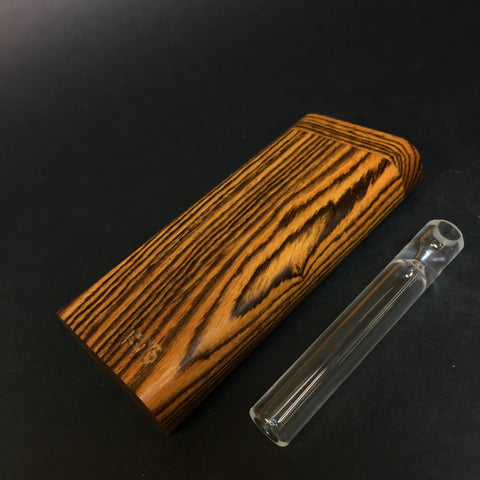 FutoStash G - Bocote - Large Glass One Hitter - 12mm - Wood Handle Stash Tool - One Hitter Box - Dugout - Made in Canada