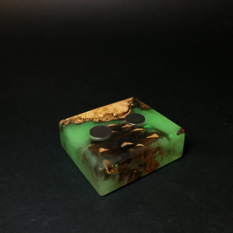 Forest Resin Magnet Stand #1445 - Resin Cast Forest Elements - Glow in the Dark - Pine Cone - DynaVap Stand - Desktop Magnetic Display Stand