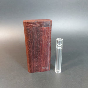 FutoStash G - Katalox - Large Glass One Hitter - 12mm - Wood Handle Stash Tool - One Hitter Box - Dugout - Made in Canada