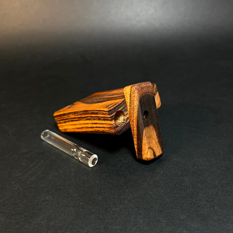 FutoStash Micro #1536 - Tigerwood - Shortie Glass One Hitter - Dugout - Made in Canada