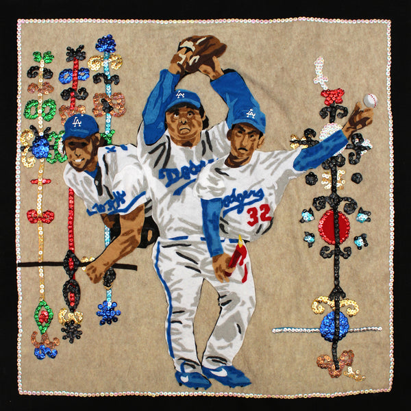 Original Applique Dodgers Holy Trinity Spiritual Wall Hanging