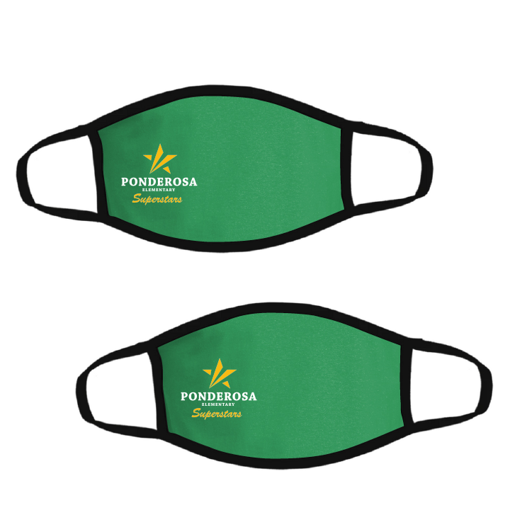 Ponderosa Elementary-Pack of Two Premium Soft Face Masks w/ Built-In Nose Wire