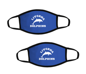 Livorna Dolphins-Pack of Two Premium Soft Face Masks w/ Built-In Nose Wire