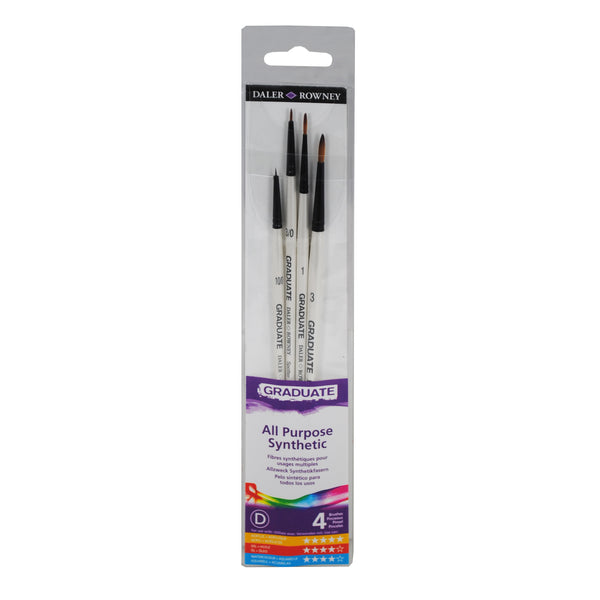 4 BRUSH SYNTHETIC DETAIL SET