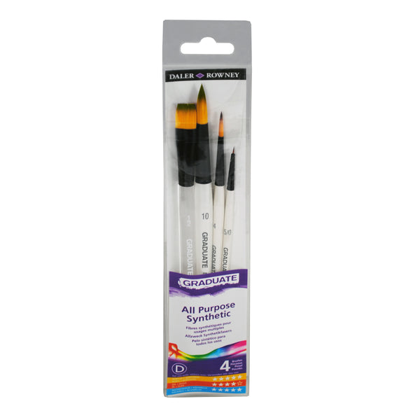 4 BRUSH SYNTHETIC WATERCOLOUR SET