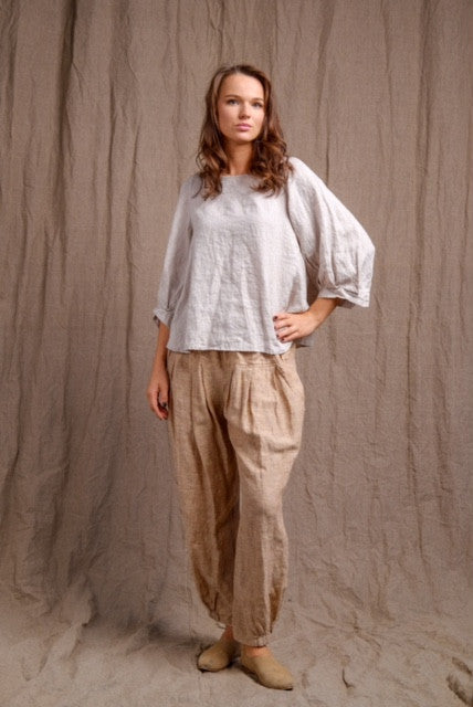 long sleeve pure linen top with organic pants