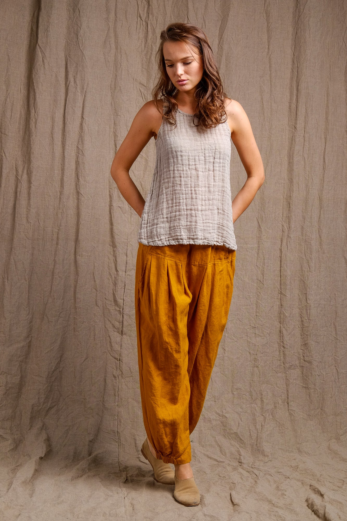 organic linen natural top and pants, beautiful garnments