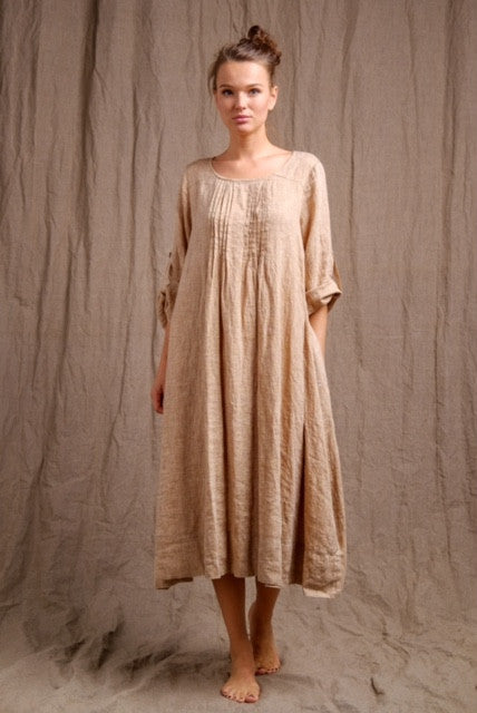 natural golden linen tank dress, organic tank dress, linen clothing, short sleeve natural linen dress