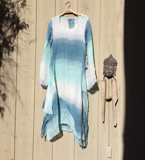 dyed linen dress blue gradients, summer linen dress, linen clothing
