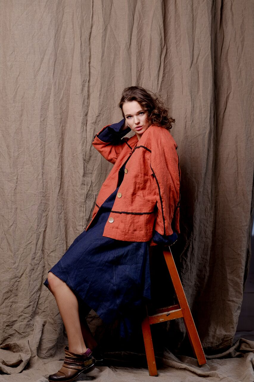 linen clothing, pure flax outfit, red coat with front buttons and blue skirt