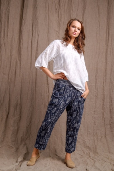 linen printed pants and beautiful long sleeves white linen shirt