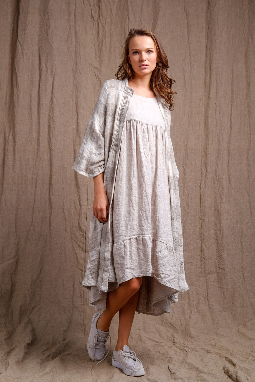 stripes linen coat with organic and natural linen dress, linen outfit , casual outfit