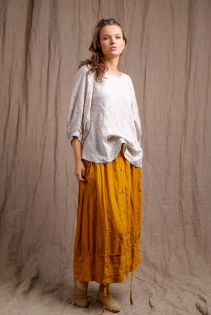 dyed long linen skirt, casual and comfy outfit